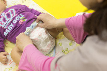Changing diapers for infants