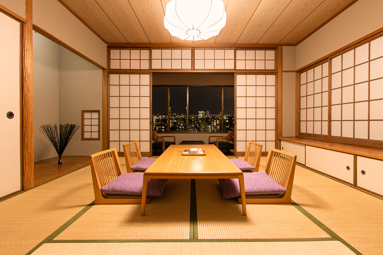 和室写真とに夜景写真を合成  福岡の写真事務所
