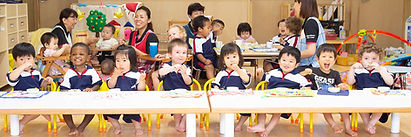 School lunch at a nursery school in Sasebo City, Nagasaki Prefecture