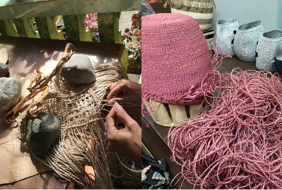 レディース用のかご、バッグをハンドメイドで編む