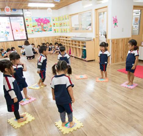 Scenery inside a popular nursery school in Sasebo
