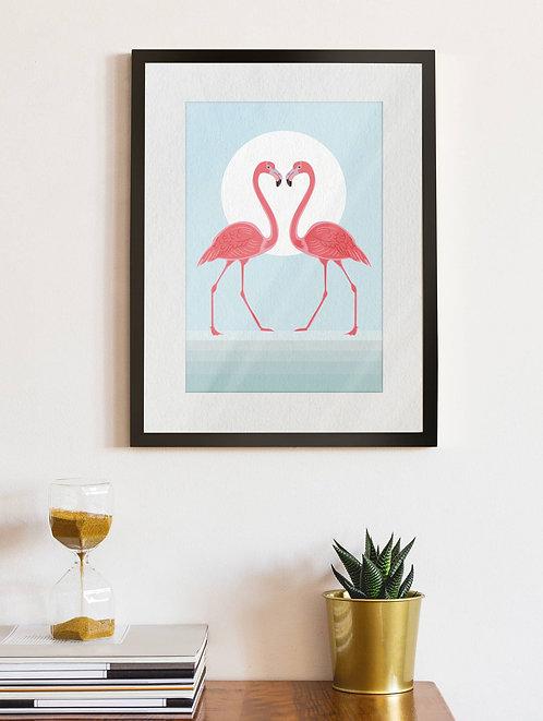 Sunset Flamingos
