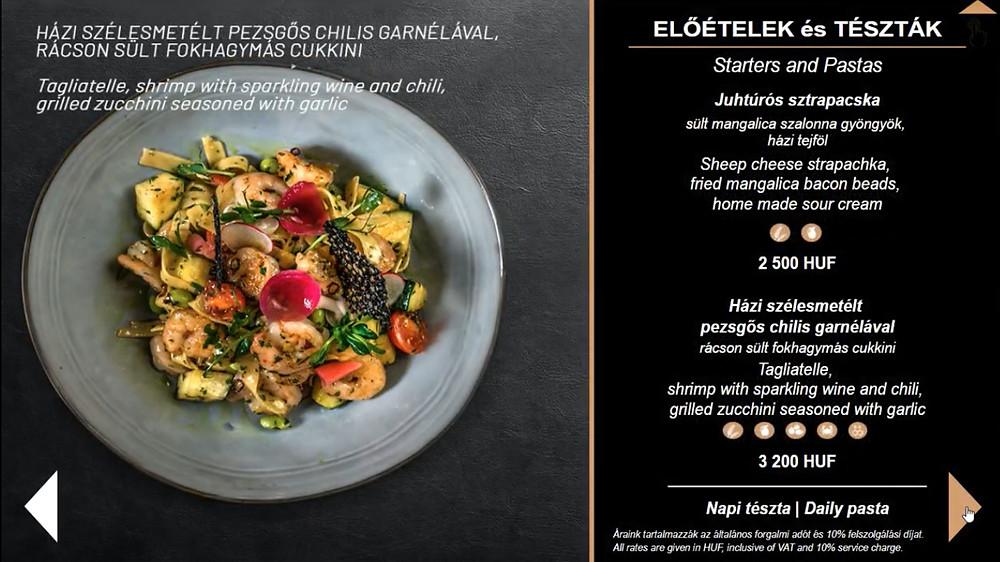 Castellum Hotel Hollókő digitális étlap reklám kijelző