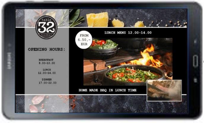 tablet digitális étlap, étterem