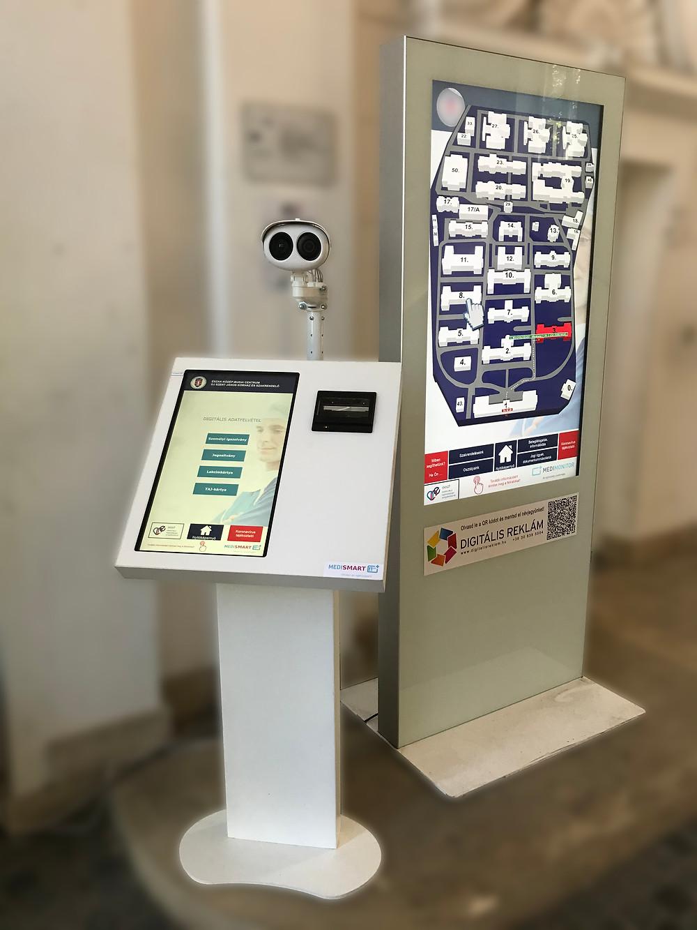 reklám digitális medimonitor totem kioszk kamera hőkamera
