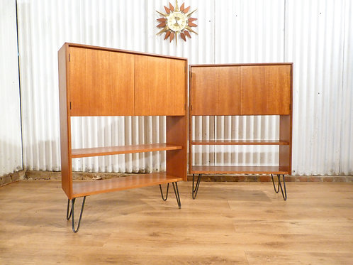 G Plan form 5 pair of teak bookcases display units industrial hairpin legs