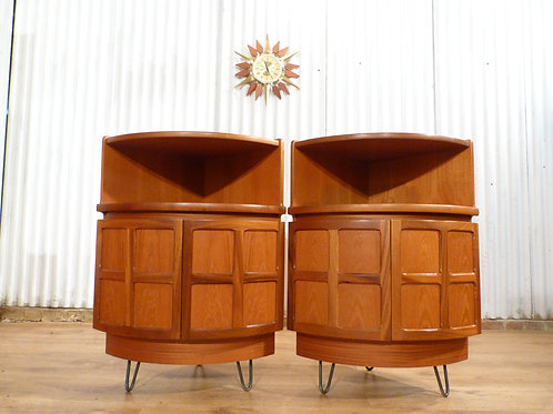 Nathan pair of bow corner units drinks cabinet bedside industrial hairpin legs