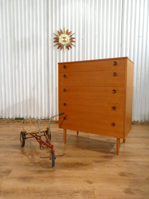 Avalon Mid-Century blonde tallboy chest of five drawers