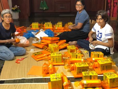 Preparing traditional offerings for Bhikkhus