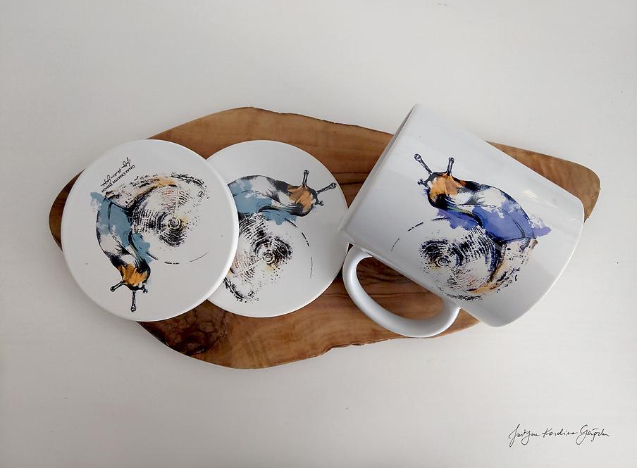 """Zestaw ceramiczny """"Ślimaki"""" - Kubek i 2 podkładki"""