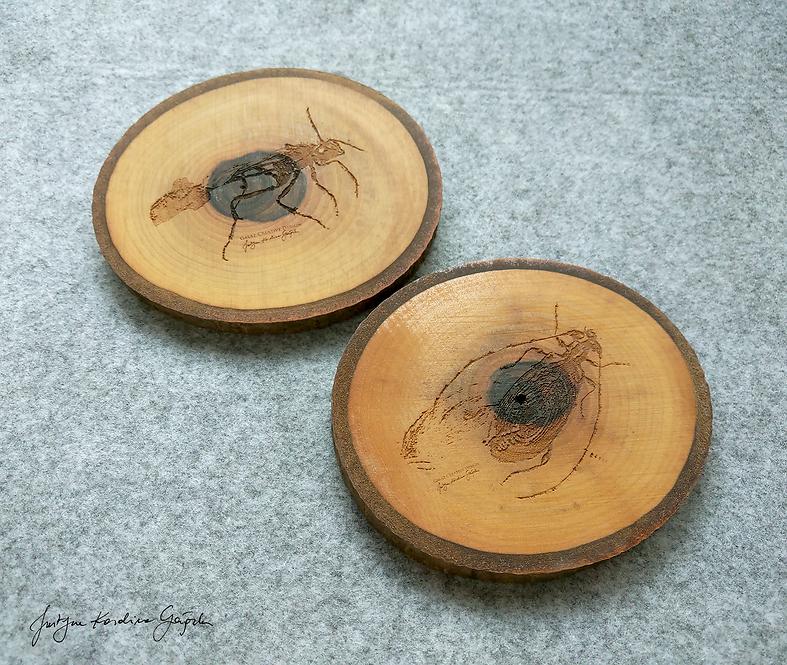 2 podkładki z drewna orzechowego z grawerem