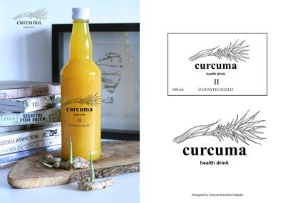 Curcuma - fot. butelki z napojem oraz proj. etykiety