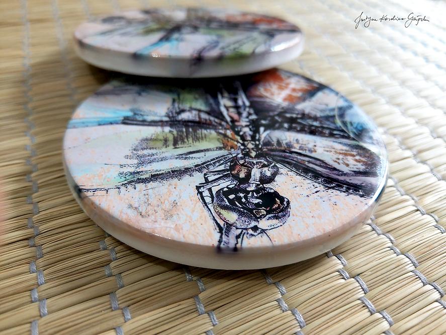 """""""Ważka"""" - komplet 2 podkładek ceramicznych"""