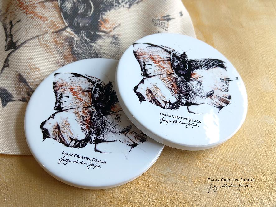 """Podkładki ceramiczne """"MOTYL"""" - komplet 2 sztuki"""