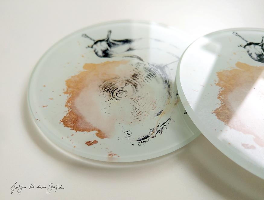 Komplet 2 podkładek szklanych - Ślimaki