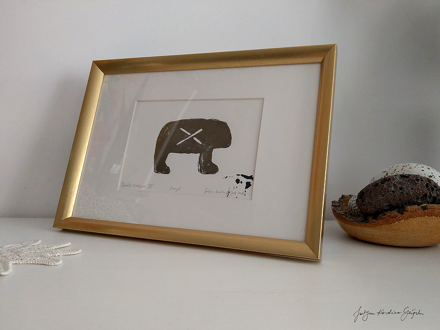 Ślężański niedźwiedź XV - linoryt
