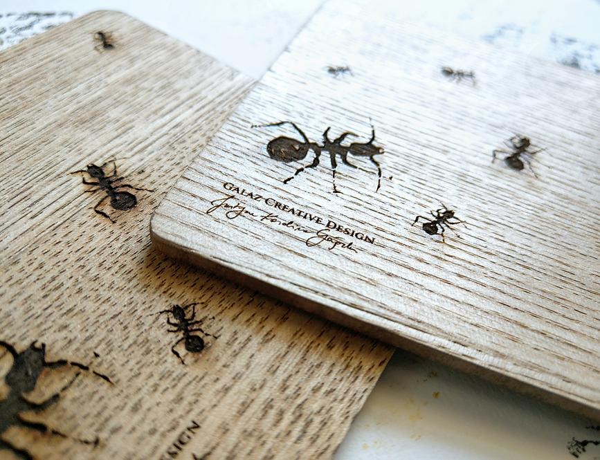 """Komplet 3 drewnianych podkładek pod kubki """"Mrówki"""""""