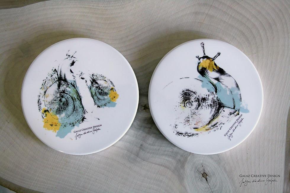 Podkładki ceramiczne pod kubek -  Ślimaki