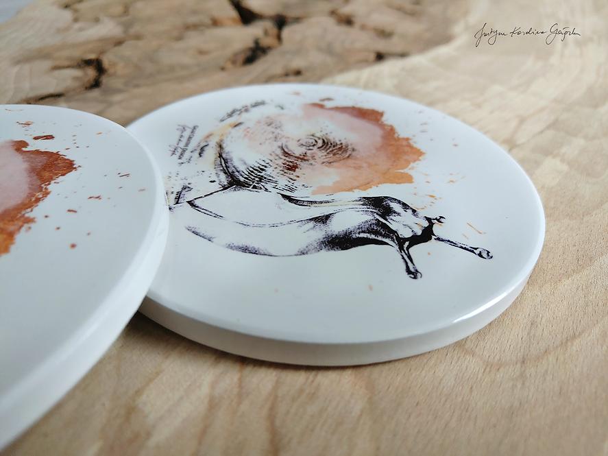 """Komplet podkładek ceramicznych """"Miedziane Ślimaki"""""""
