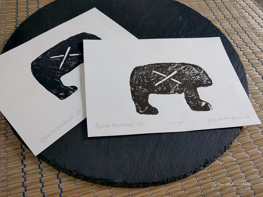 Niedźwiedzie Ślężańskie - komplet 2 linorytów