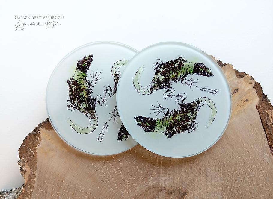 Jaszczurki - podkładki szklane (komplet)