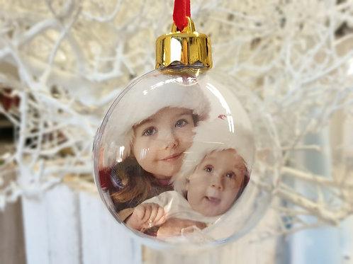 Pallina di Natale con foto su due lati.