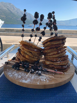 Pancake stack and blueberries