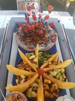 Pancake stack with fresh fruits