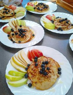 Morning pancakes and honey