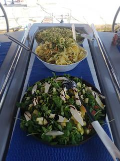 Pear salad and pasta.JPG