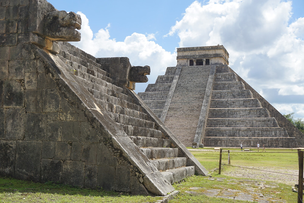 Two temples at Chichen Itza Mayan ruins in Mexico