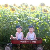 Cute girls in sunflowers