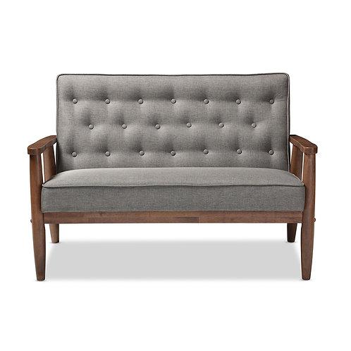 Sorrento Retro Upholstered Wooden 2-Seater Loveseat, Gray Fabric