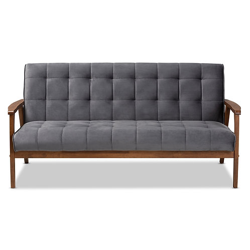 Asta Grey Velvet Upholstered Walnut Finished Wood Sofa