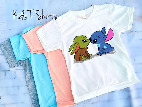 Baby Yoda and Stitch Kids T-Shirt