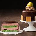 Pistachio Strawberry Macaron Cake
