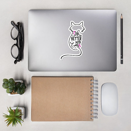 Better With Cats Bubble-free stickers