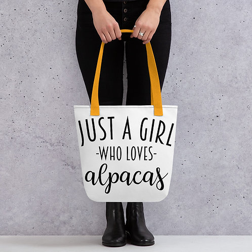 Just a girl who loves alpacas tote bag