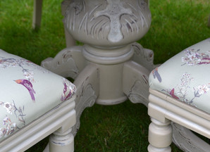 French Shabby Chic Louis dining table and Victorian chairs