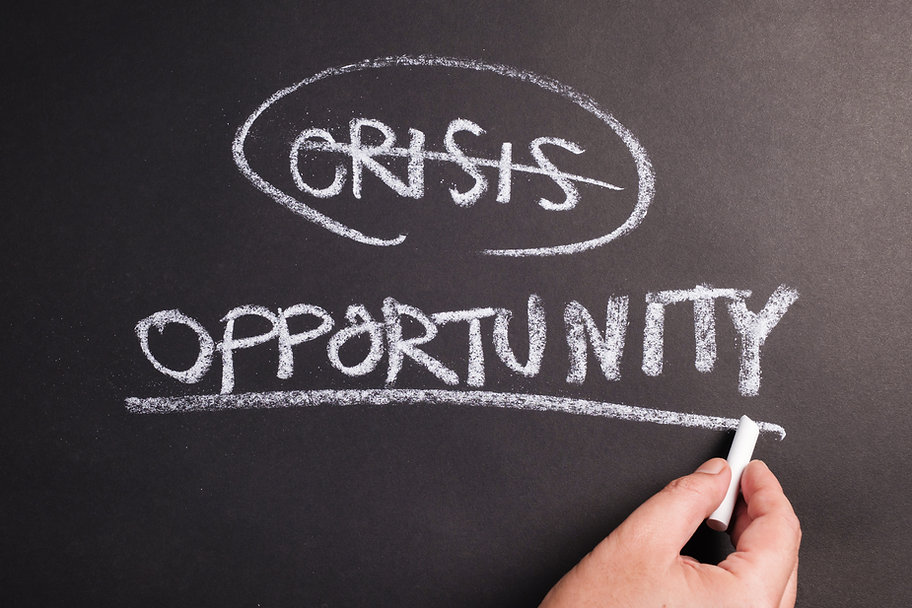 Closeup hand underline at Opportunity word on chalkboard, crisis and opportunity concept.j