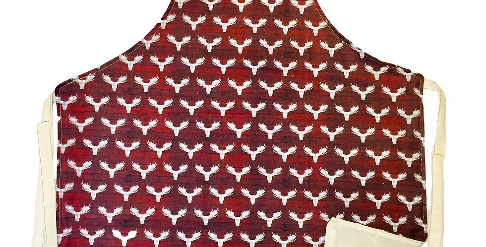 """Home-made red & gray plaid """"Moose"""" Kitchen apron"""