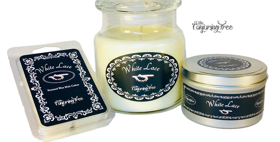 White Lace (our version of White Shoulders) Scented Candles & wax melt cubes