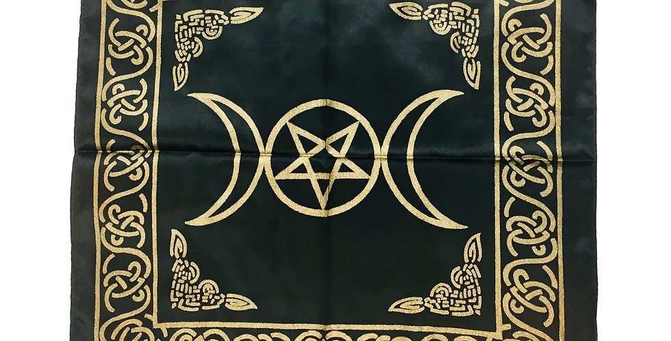 Altar Cloth - Black & Gold Triple Moon