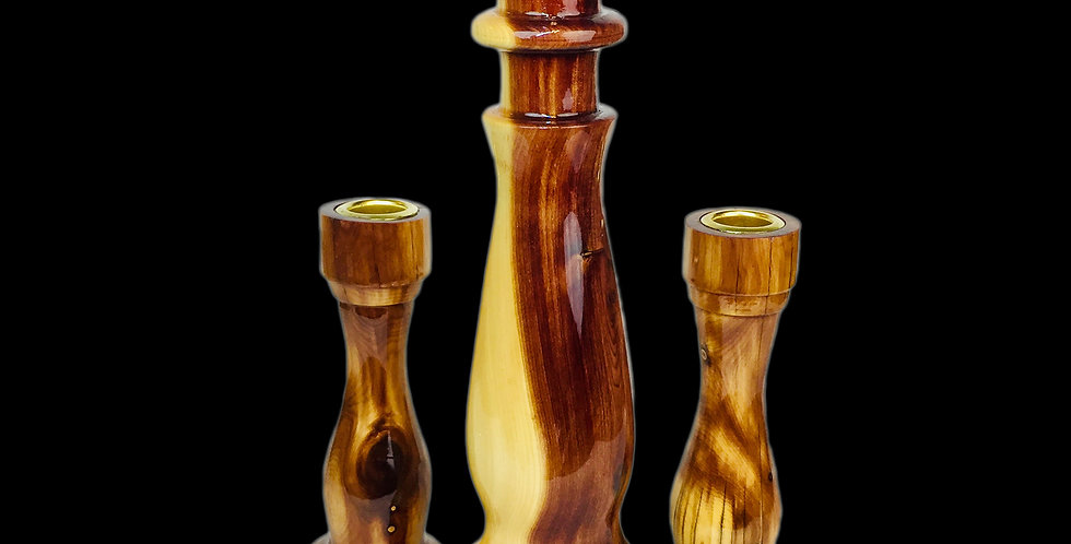 Live-edge Cedar Candlestick trilogy set with high polish finish