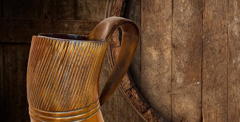 Burnt and engraved Viking horn mug