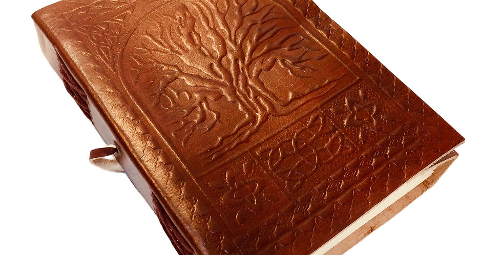 Embossed leather journal with Celtic knot work and tree design