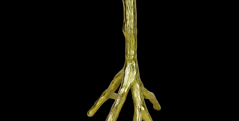 Gold colored metal branch taper candlestick - smaller