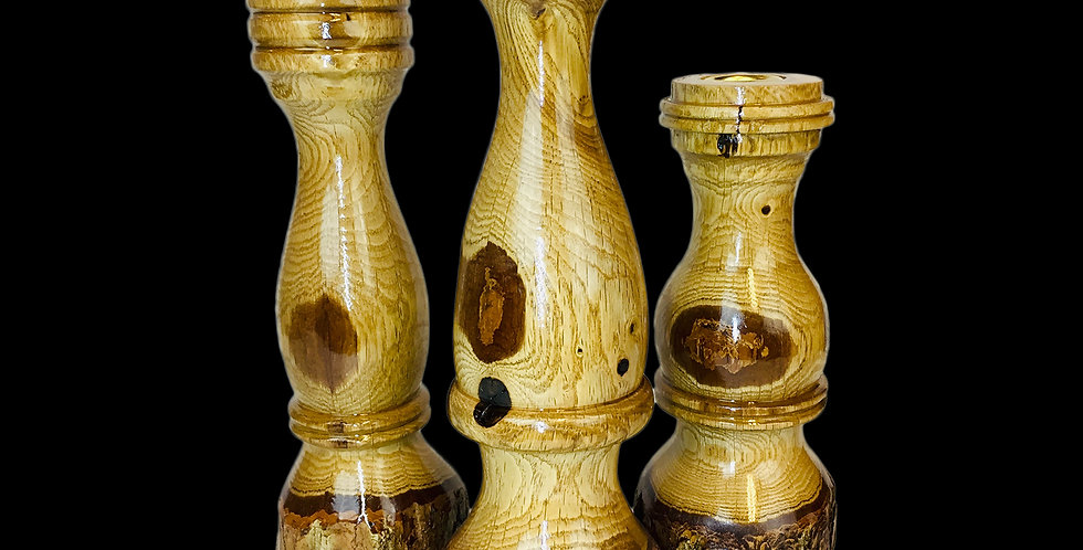 Live-edge Oak Candlestick trilogy set with high polish finish