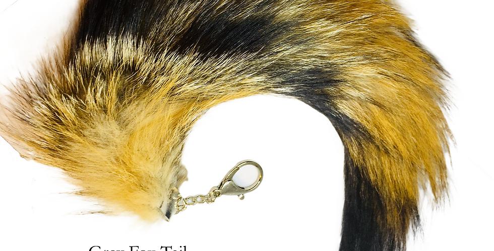 Grey Fox Tail key chain