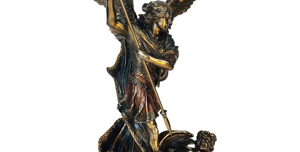 Saint Michael Slaying the Demon with Spear Bronze Statue: Veronese Collection